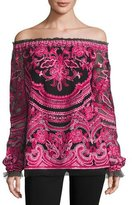 Naeem Khan Embroidered Off-the-Shoulder Long-Sleeve Blouse, Black/Fuchsia