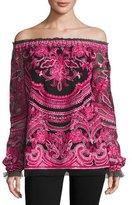 Naeem Khan Embroidered Off-the-Shoulder Long-Sleeve Blouse, Black/Fuchsia