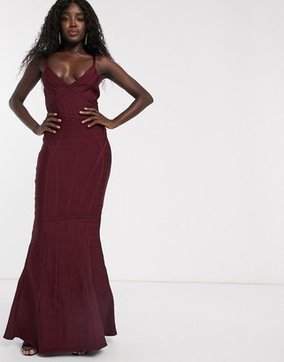 Lipsy fishtail maxi bandage dress in berry-Red