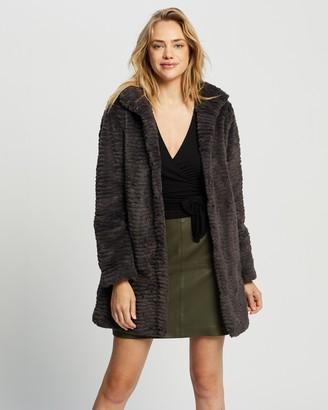Dorothy Perkins Funnel Collar Faux Fur Coat