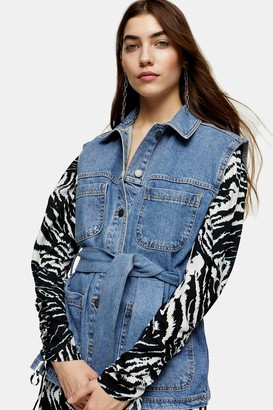 Topshop Womens Reworked Denim Belted Shacket - Mid Stone