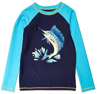 Hatley Game Fish Long Sleeve Rashguard (Toddler/Little Kids/Big Kids) (Blue) Boy's Swimwear