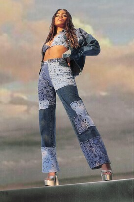boohoo Cropped jean jacket With Bandana Patchwork