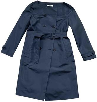 Prada Navy Silk Trench Coat for Women