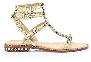 Ash Women's Play Stud Metallic Leather Ankle Strap Sandals