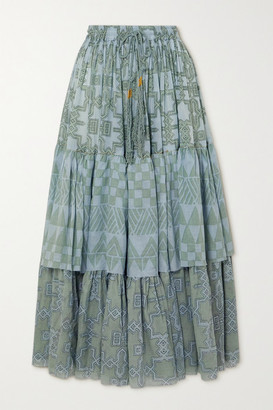Yvonne S Tiered Printed Cotton-voile Maxi Skirt - Green