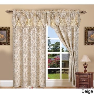 Elegant Comfort Luxury Penelopie Jacquard 84-inch length Window Curtain Panel Pair