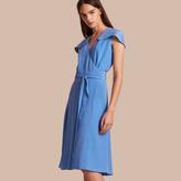 Burberry Cape Detail Silk Wrap Dress
