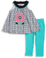 Kids Headquarters Girls 2-6x Girls Damask Print Tunic and Leggings Set