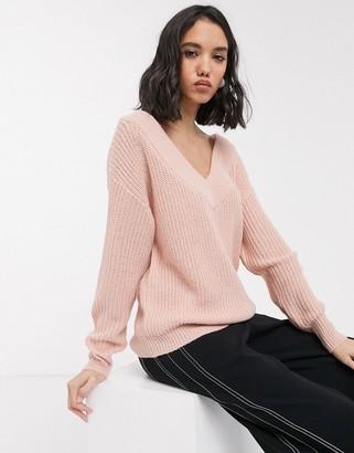 Only v neck knitted jumper in pink