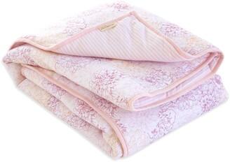 Burt's Bees Peach Floral Print Organic Reversible Baby Quilt