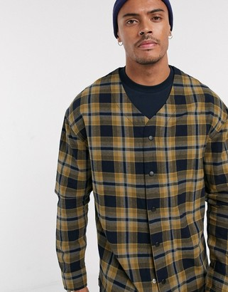 Asos Design DESIGN check overshirt with snap buttons in brown