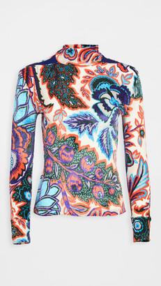 Paco Rabanne Floral Velvet Turtleneck Top