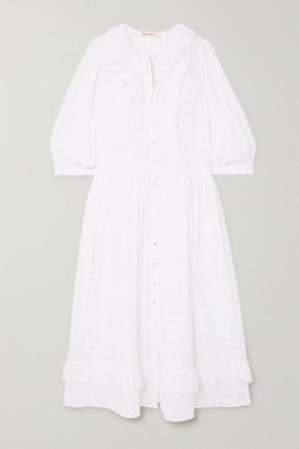 &Daughter Rosa Ruffled Cotton-seersucker Midi Dress - White