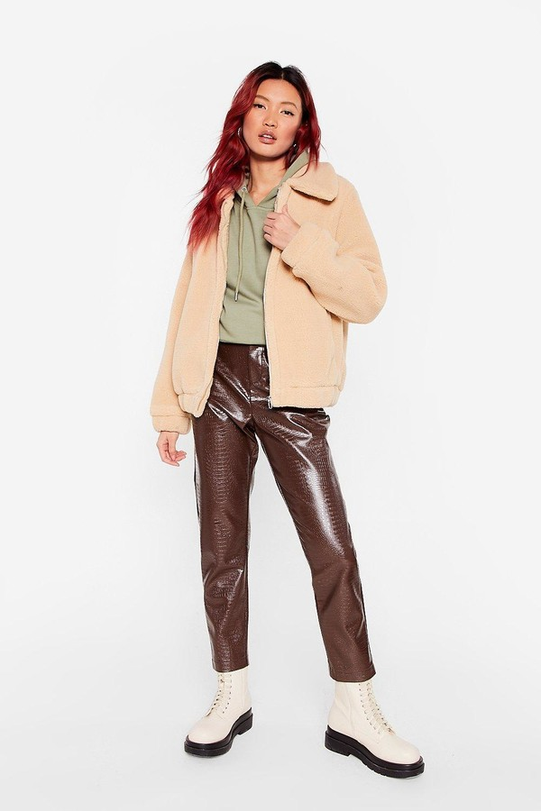 Thumbnail for your product : Nasty Gal Womens Zip Up Faux Fur Teddy Coat - Beige - L