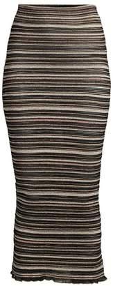 Herve Leger Striped Tea Length High-Waisted Skirt