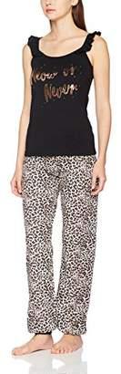 Boux Avenue Women's Meow Or Never Frill Vest & Pant Pyjama Sets, (Black Mix)