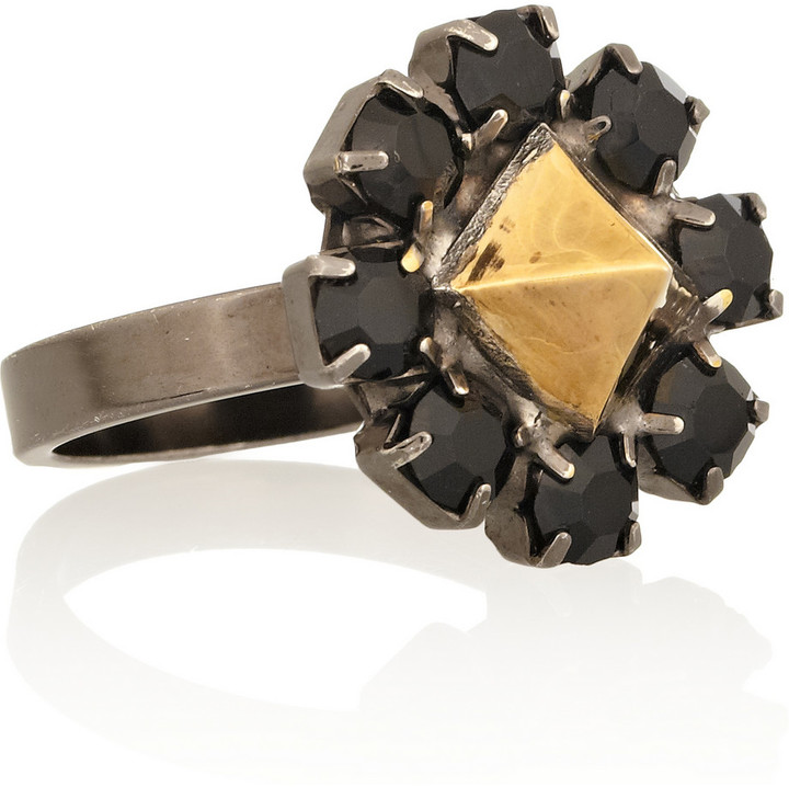 Tom Binns Disengagement gold-plated Swarovski crystal ring