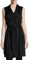 Joan Vass Perforated Faux-Suede Vest, Black