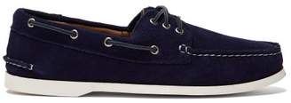 Quoddy Downeast Suede Boat Shoes - Mens - Blue