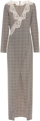 La Perla Wrap-effect Lace And Houndstooth Silk-blend Nightgown