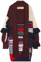 Burberry Fringed Patchwork Wool And Cashmere-blend Cardigan - Ivory