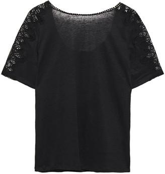 Sandro Ocelia Guipure Lace-trimmed Linen-jersey T-shirt