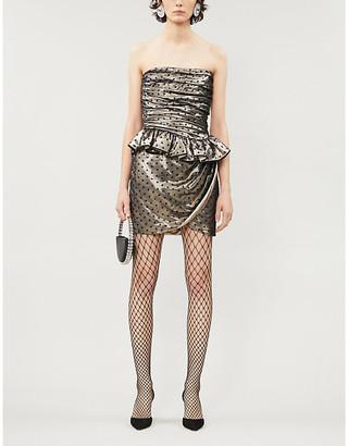 Dundas Polka-dot strapless silk-blend mini dress