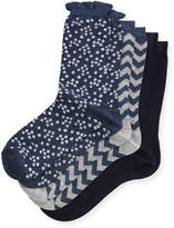 Neiman Marcus Three-Pair Multi-Printed Ruffle Socks, Blue