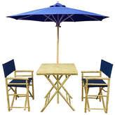 One Kings Lane Umbrella 4-Pc Square Dining Set - Navy