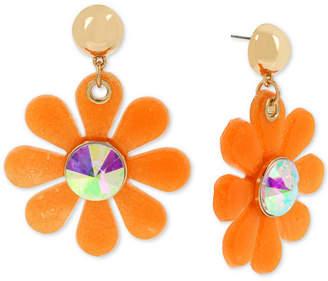 Betsey Johnson Gold-Tone Crystal Jelly Flower Drop Earrings