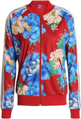 adidas Floral-print Jersey Track Jacket