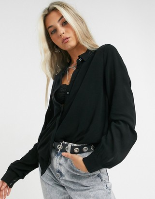 Object Bay classic button front shirt in black