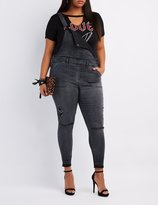Charlotte Russe Plus Size Refuge Released Hem Denim Overalls