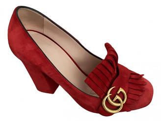 Gucci Marmont Red Suede Heels