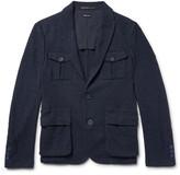 Giorgio Armani Blue Slim-Fit Cotton-Blend Bouclé Blazer