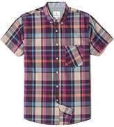 Chain Stitch Mens Short Sleeve Check Button-Down Collar Casual Plaid Shirt