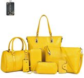 Donaword Women Pack of 7 Bags Muti-purpose Cassic Design PUeather Purse Cutch Shouder Handbag Set Yeow