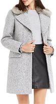 Oasis Freya Boucle Faux Fur Collar Coat, Mid Grey