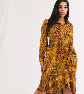 Pretty Darling Plus snake print shirt dress