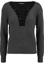 Tart Collections Amity Lace-Up Ribbed Merino Wool Sweater