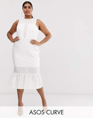 Asos DESIGN Curve drop stitch lace pep hem midi dress-White