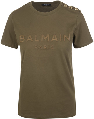 Balmain Khaki Woman T-shirt With Bronze Logo