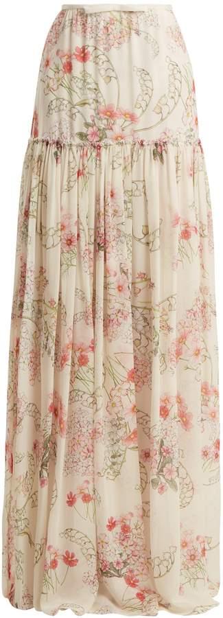 Giambattista Valli Lily Of The Valley-print silk-georgette skirt