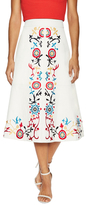 Alice + Olivia Giselle Embroidered Leather Midi Skirt