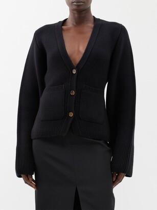KHAITE Scarlet Flared-sleeve Cashmere-blend Cardigan - Black
