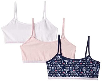 Maidenform Girls 3-Pack Logo Crop (Little Kids/Big Kids) (Words Navy/Parfait Pink/White) Girl's Bra