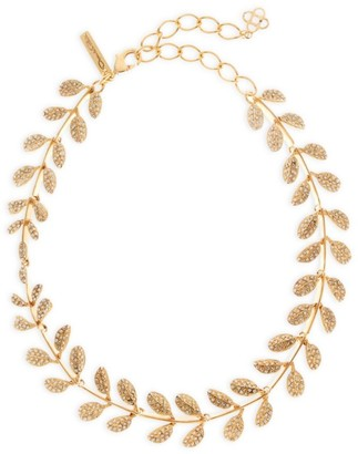 Oscar de la Renta Goldtone Swarovski Crystal Leaf Necklace