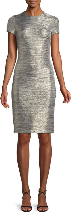 Alice + Olivia Delora Fitted Metallic Short-Sleeve Cocktail Dress