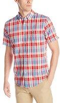 Lacoste Men's Short Sleeve Poplin Plaid Regular Fit Point Collar Woven Shirt